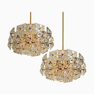 Gold-Plated Brass Crystal Glass Chandeliers from Kinkeldey, 1970s, Set of 2