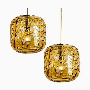 Amber Murano Glass Pendant Lights in Venini Style by Gio Ponti, 1970s, Set of 2