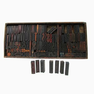 Industrial Vintage Wooden Letters & Numbers Printing Blocks