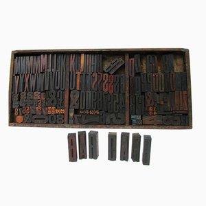 Industrielle Vintage Buchstaben & Nummern Druckblöcke aus Holz