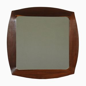 Glass and Mahogany Mirror, Italy, 1960s