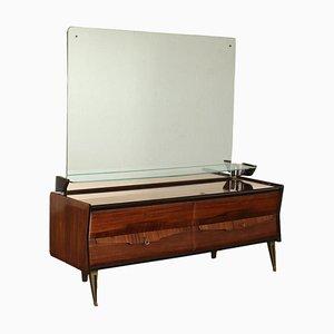 Veneered Wood, Mirror Glass and Brass Dresser, Italy, 1950s