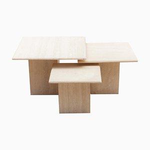 Italian Travertine Nesting Tables, Set of 3