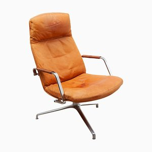 Revolving FK 86 Leather Lounge Chair by Preben Fabricius & Jørgen Kastholm for Kill International, 1970s