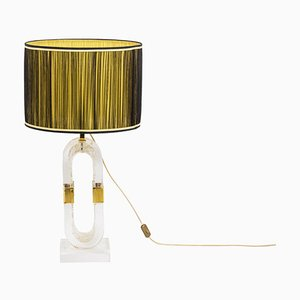 Lamp in Lucite and Gilded Brass by Romeo Rega, 1970s