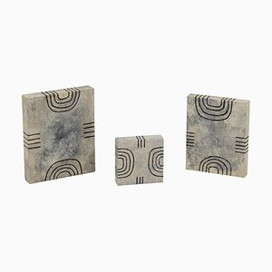 Myriam Caumes, Small Geometric Paintings, Contemporary Work, Set of 3