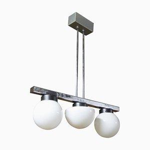 Chrom Kronleuchter mit Drei Milchglas Lampenschirmen, 1960er