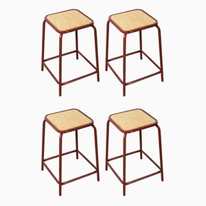 French Raspberry Red Laboratory Stools, 1970s, Set of 4