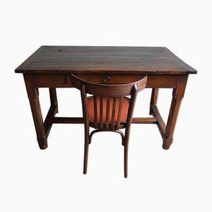 Antiker Schreibtisch aus Eiche mit Stuhl, 2er Set