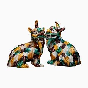 Chinesische glasierte Keramikskulpturen, 20. Jh., 2er Set