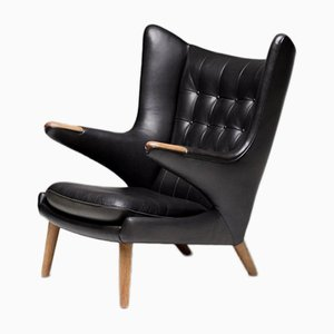 Black Leather Papa Bear Chairs with Ottoman by Hans Wegner for A. P. Stolen, Set of 2