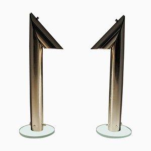 Lange Tischlampen aus Metall von Markslöjd, Schweden, 1980er, 2er Set