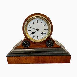Antique Victorian Walnut Desk Clock