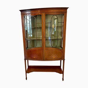 Antique Edwardian Inlaid Mahogany Bow Fronted Display Cabinet