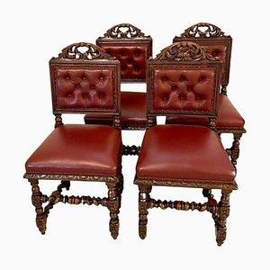 Antike viktorianische Esszimmerstühle aus geschnitzter Eiche, 4er Set