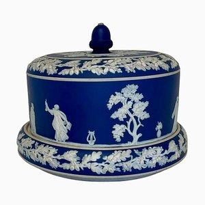 Große antike blaue & weiße Wedgwood Jasperware Käseteller