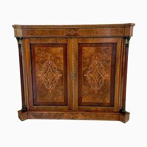 Antique Victorian Inlaid Burr Walnut Side Cabinet