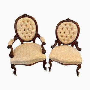 Antike viktorianische Damen- und Herrenstühle mit Nussholzrahmen, 2er Set