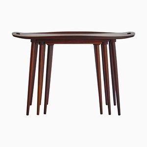 Tables Gigognes en Palissandre par A. Jacobsen, Danemark, 1960s, Set de 3