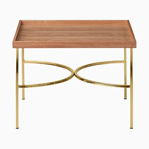 Eichenholz und Gold Tablett Tisch