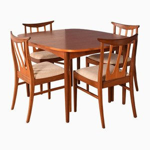 Teak Brasilia Dining Table & 4 Chairs by Victor Wilkins for G-Plan, 1960s, Set of 5