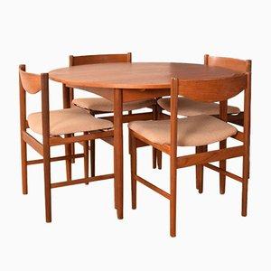 Tavolo rotondo e sedie in teak di Ib Kofod Larsen, set di 5