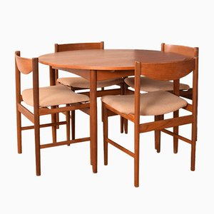 Teak Round Table and Chairs by Ib Kofod Larsen, Set of 5