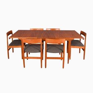 Tavolo da pranzo allungabile in teak con sei sedie, Danimarca, anni '60