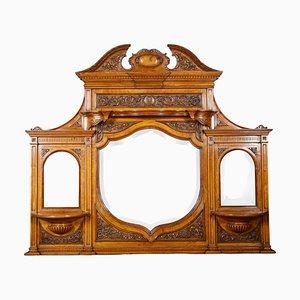 Carved Pollard Oak Overmantle Mirror