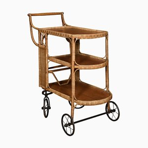Rattan Cane and Oak Drinks Cart