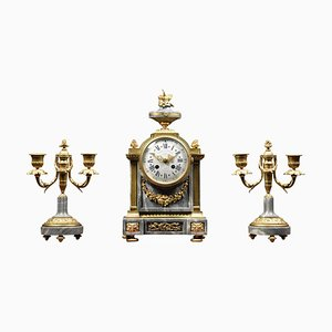 French Three-Piece Clock Set from Lemerle-Charpentier and Cie Paris, Set of 3