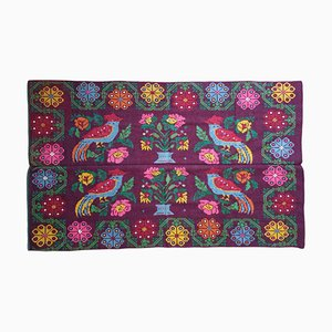 Romanian Red Bordeaux Rug with Flowers and Birds