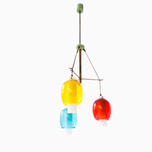 Italian Primary Colors Pendant Lamp, 1950s