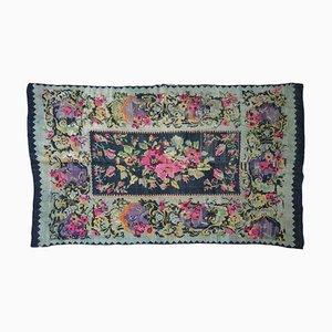 Vintage Romanian Floral Rug in Wool