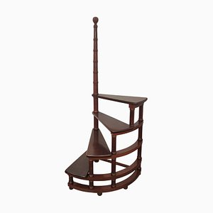 Mid-Century Italian Carved Walnut Wood Spiral 4-Step Library Ladder