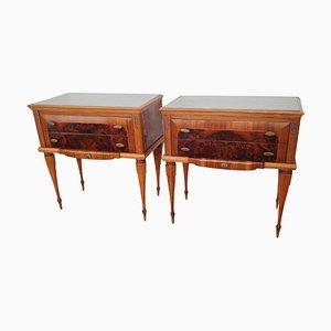 Tables de Chevet Art Déco en Noyer avec Plateau en Verre, Italie, Set de 2