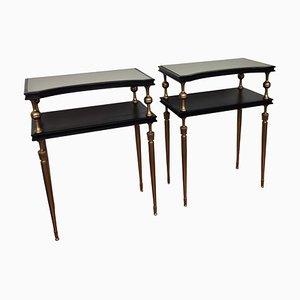 Italian Art Deco Nightstands in Brass, Glass and Wood, Set of 2