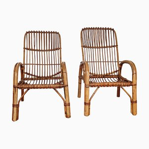 Italian Bent Bamboo Rattan French Riviera Lounge Chairs by Franco Albini, 1960s, Set of 2