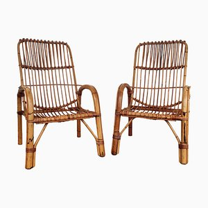 Italian Bent Bamboo Rattan French Lounge Chairs by Franco Albini, 1960s, Set of 2