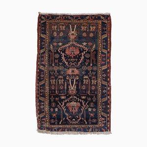 Floraler dunkelblauer Bakhtiari Teppich mit Rand und Medaillon