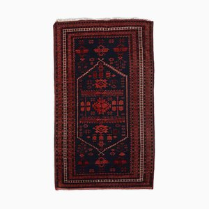 Geometric Dark Red Rug with Border and Medallion
