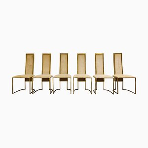 Vintage Brass Dining Chairs from Belgochrom, 1970s, Set of 6