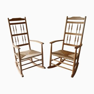 Mid-Century English Wood Rocking Chairs, Set of 2