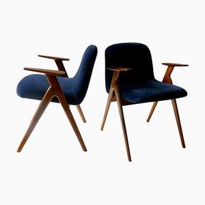 Italienische Armlehnstühle aus Holz & blauem Samt, 1960er, 2er Set