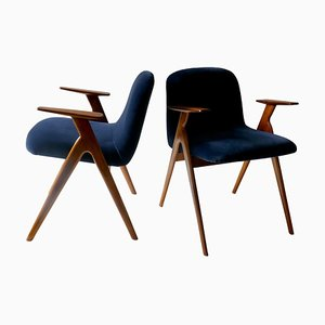 Wood and Blue Velvet Armchairs, Italy, 1960s, Set of 2