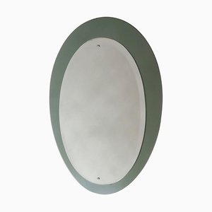 Mid-Century Oval Mirror with a Green Smoked Mirrored Frame, Italy