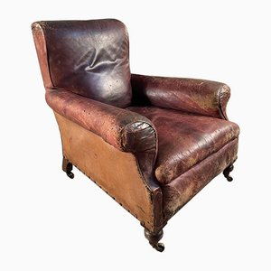 Antique Leather Library Fireside Armchair, 1840s