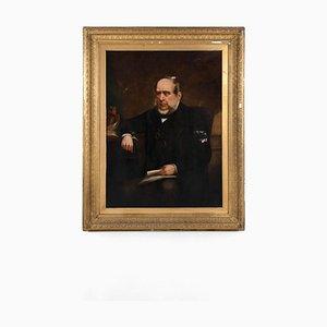 Portrait d'un Gentleman Assis, Huile sur Toile, 19ème Siècle