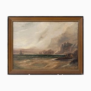 Stormy Coastal View with Sailboat by Stanley Montague