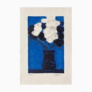 Anemoni blu e bianchi di Bernard Cathelin